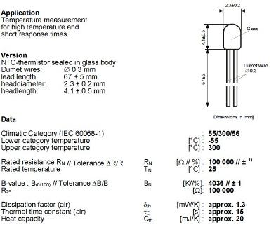 Xcr3d printer 3d parts ht 100k ntc thermistor temperature sensor.